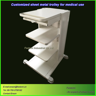 Professional Sheet Metal Customized Hospital Nursing Cart Trolley factory