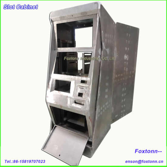 Openable Back Doored Dual Monitors Metal Slot Cabinet